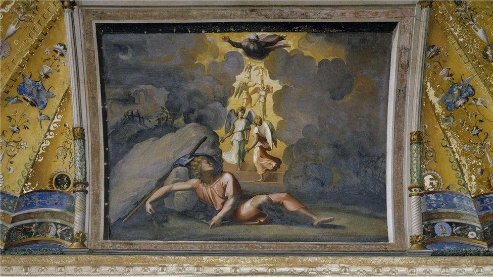 """Renesansni slikari su voleli biblijske priče kao što su """"Jakovljev san"""", koju je Rafaelo naslikao 1518. za svod vatikanske Apostolske palate"""