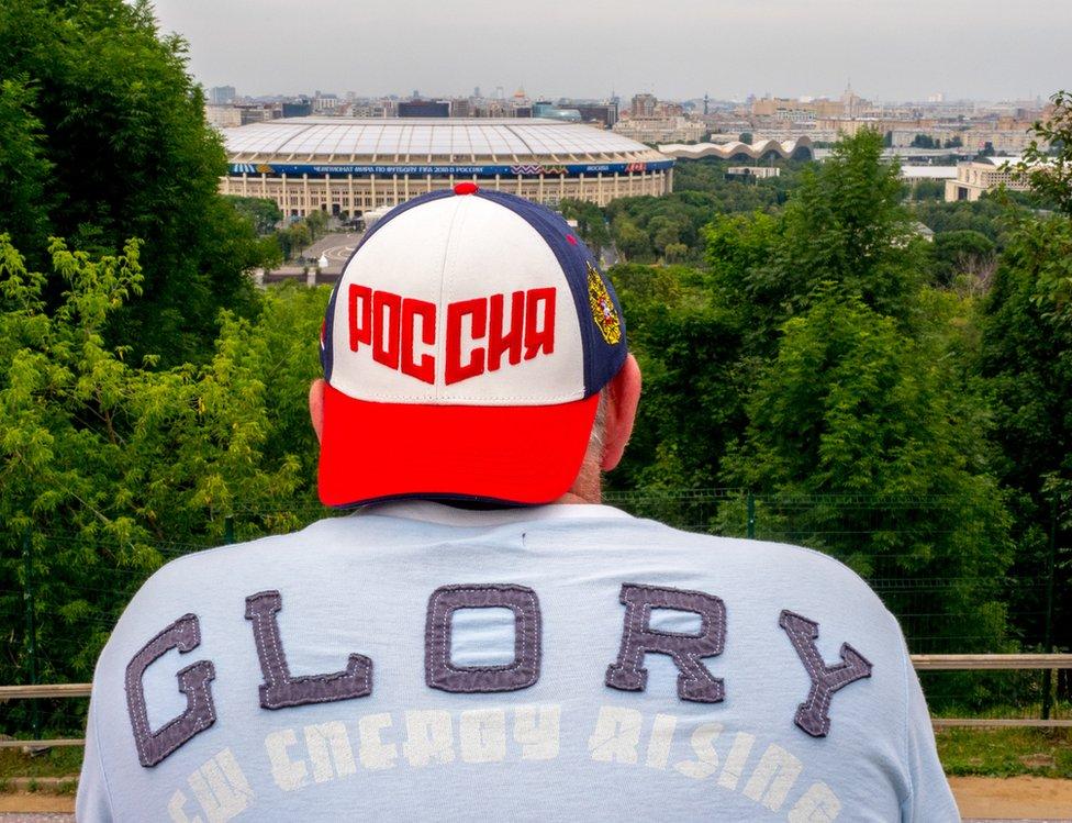 A football fan in Moscow
