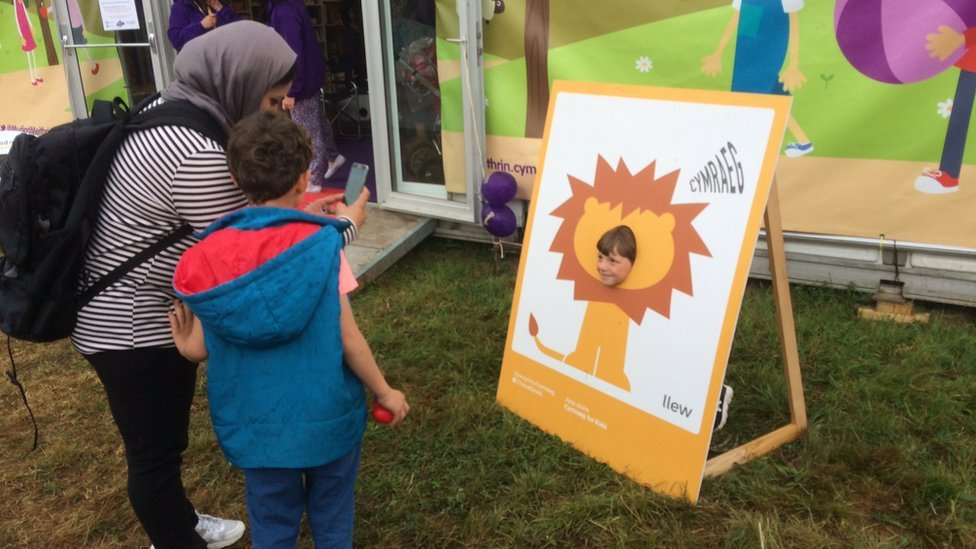 The Alrariees family, refugees from Syria, visited this year's Eisteddfod to give them a taste of Welsh culture