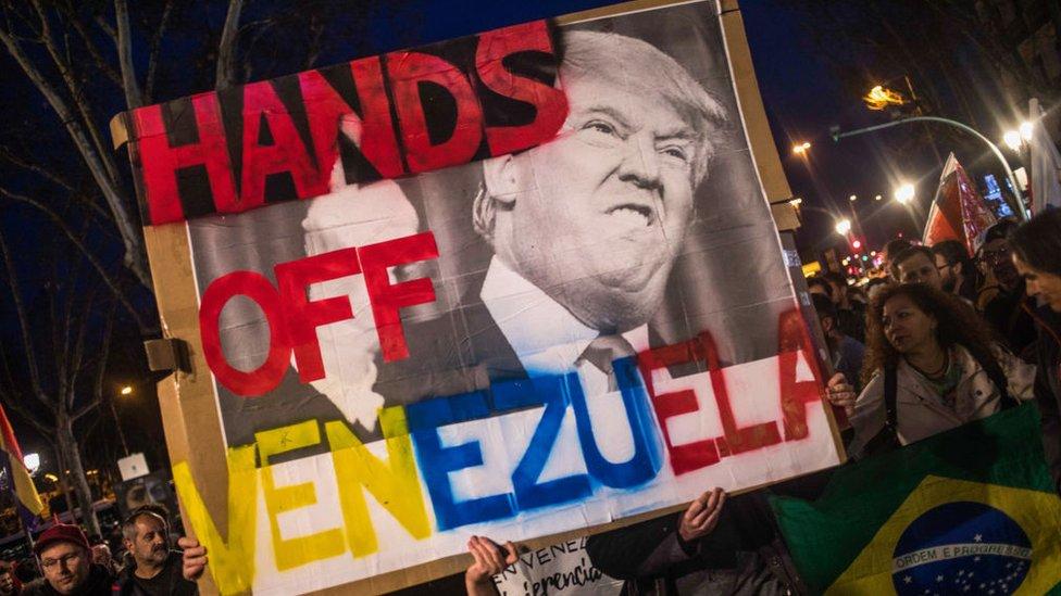 Manifestación en Madrid contra la interferencia de TRump en la crisis de Venezuela.