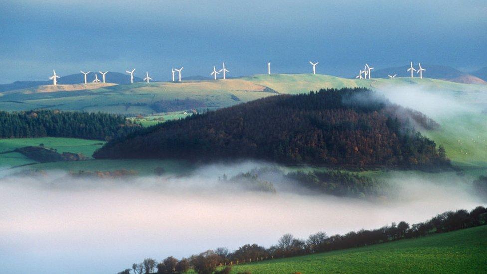 Windfarm above Tal-y-bont, Rheidol Valley, Wales, UK. (