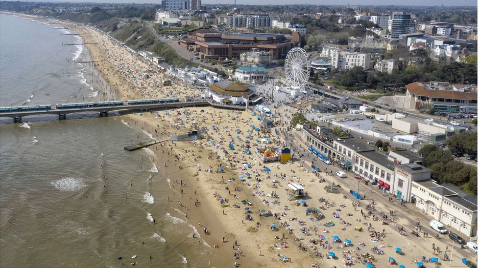 An aerial view of a busy Bournemouth beach