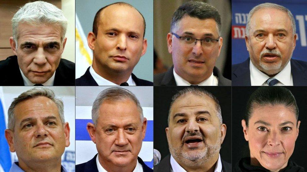 Imagen que muestra a los líderes de los partidos de la nueva coalición que gobierna en Israel.