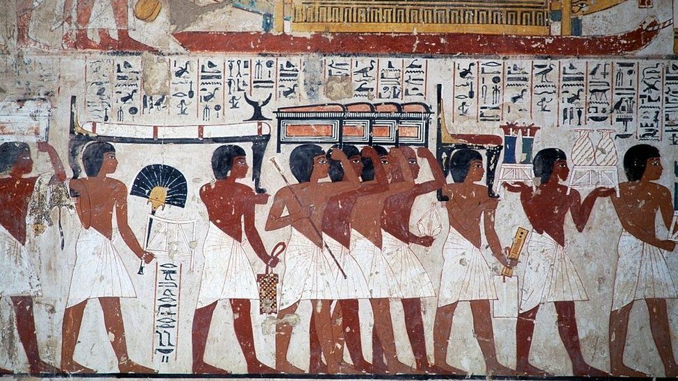 مشهد لموكب حاملي المتاع الجنائزي من مقبرة رعموزا، الأسرة الـ 18