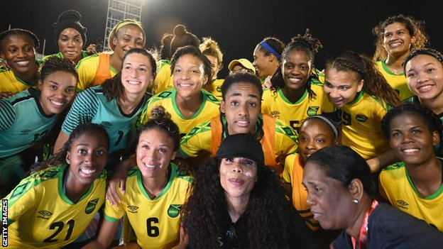 Cedella Marley with Jamaica Women's football team 'Reggae Girlz' in Kingston, Jamaica on May 19, 2019