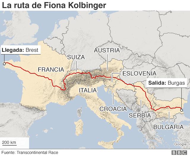 Mapa de la ruta de Fiona Kolbinger
