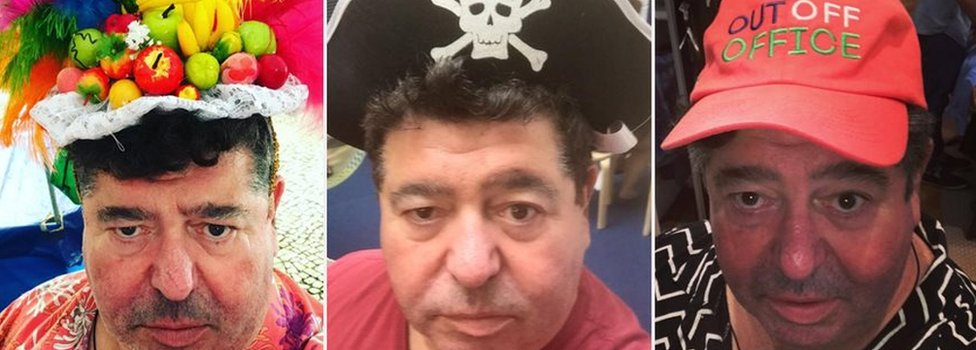 Pictures of Rob Goldstone wearing hats