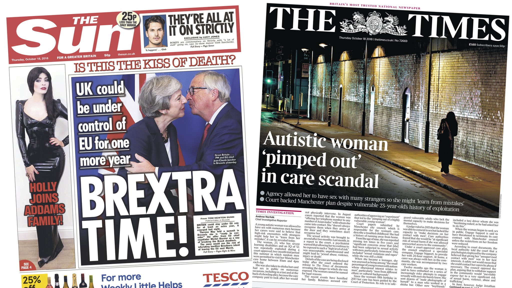 "Newspaper headlines: 'Brextra time!"" and 'sex care scandal'"
