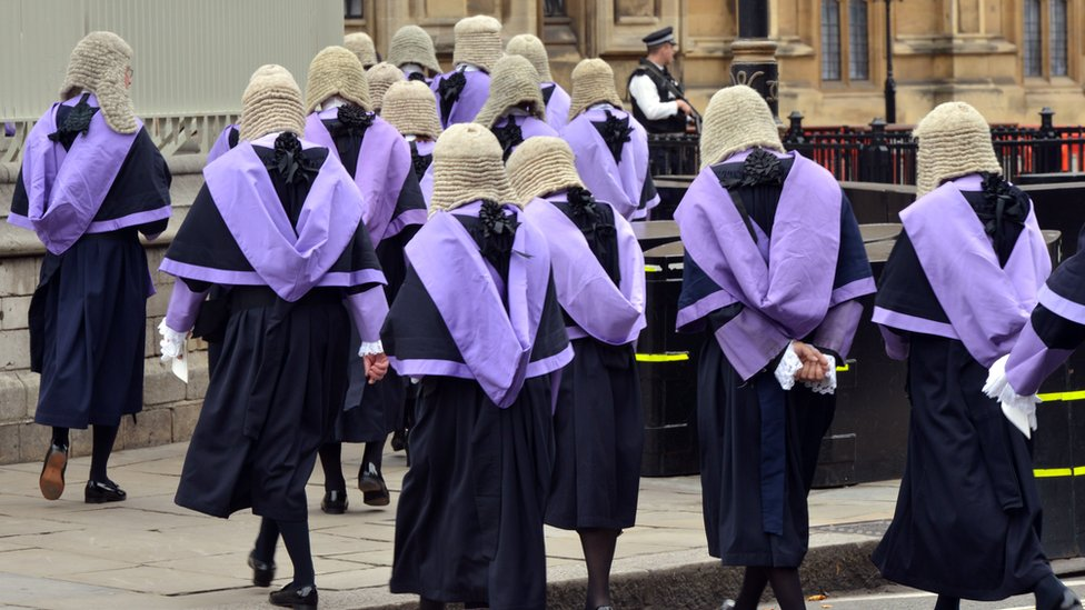 Circuit court judges walk from Westminster Abbey to the Houses of Parliament after a service to mark the start of the legal year