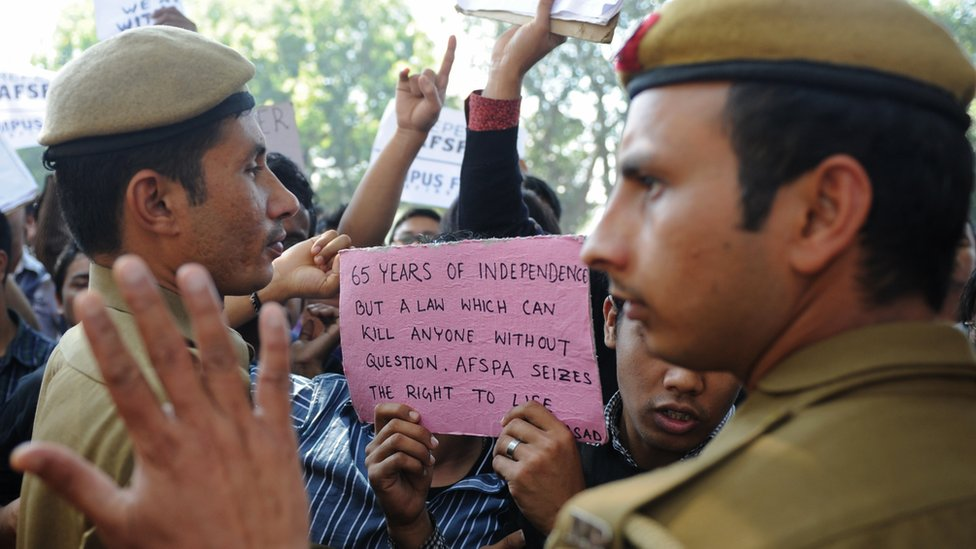 File photo of a protest against Afspa