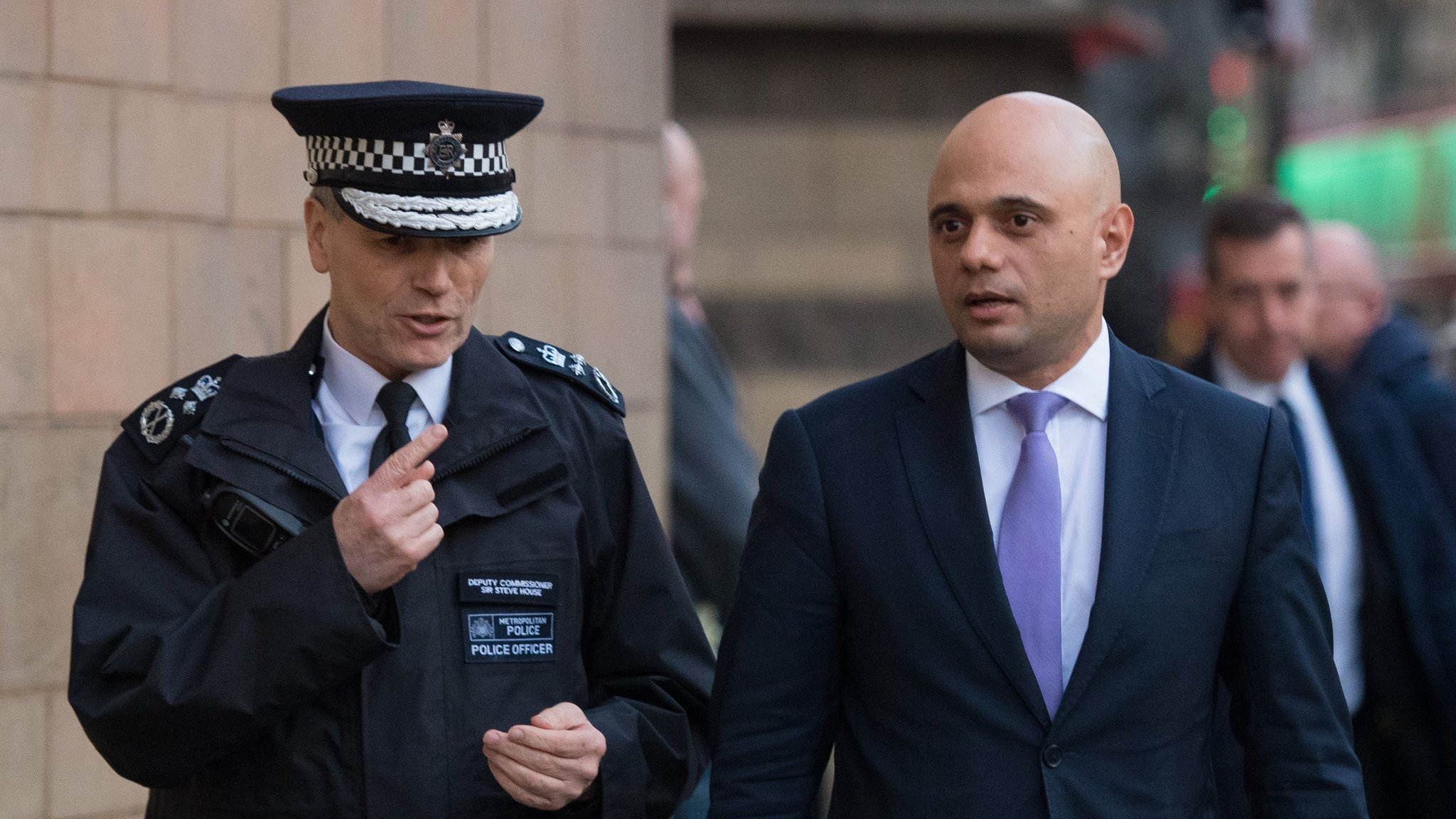 Sajid Javid Metropolitan Police Deputy Commissioner Steve House launching enhanced stop and search powers at Angel Underground station