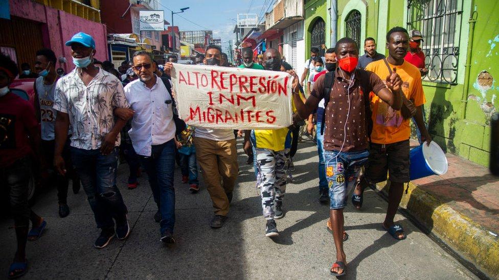 Manifestación haitiana en Tapachula.