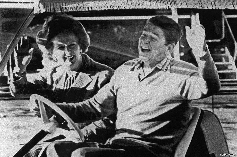 Margaret Thatcher and Ronald Reagan
