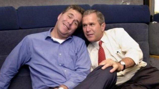 Jeb Bush and George W Bush in 2000