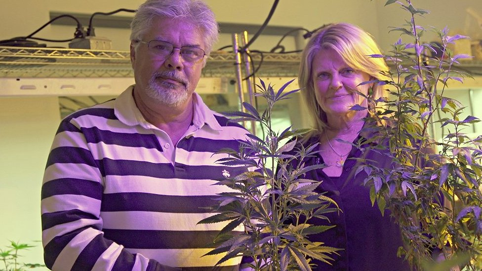 Jayne and Vic Grossom pose in their marijuana plant display room