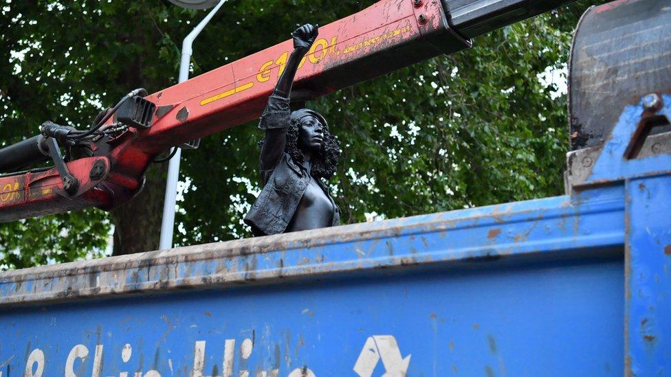 Jen Reid sculpture being removed