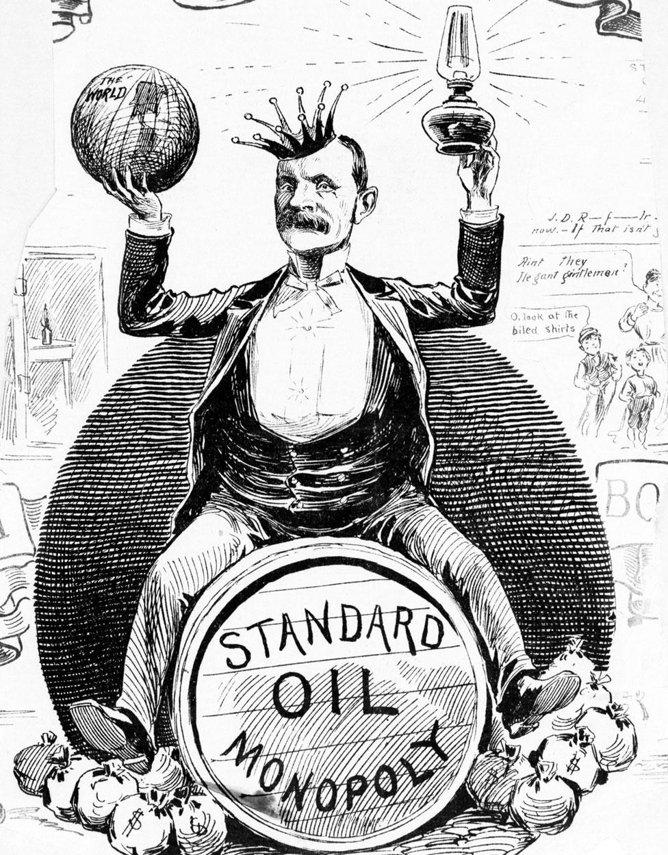 Caricatura de Rockefeller como un rey sentado sobre un barril de petróleo de Standard Oil