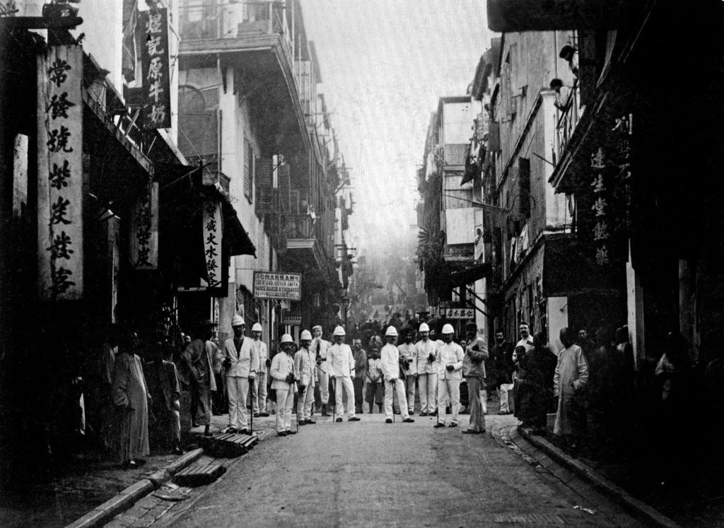 Brigadas de inspección británicas en Hong Kong a finales de los 1880.