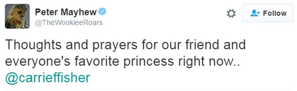 """Thoughts and prayers for our friend and everyone's favorite princess right now.. @carrieffisher"""