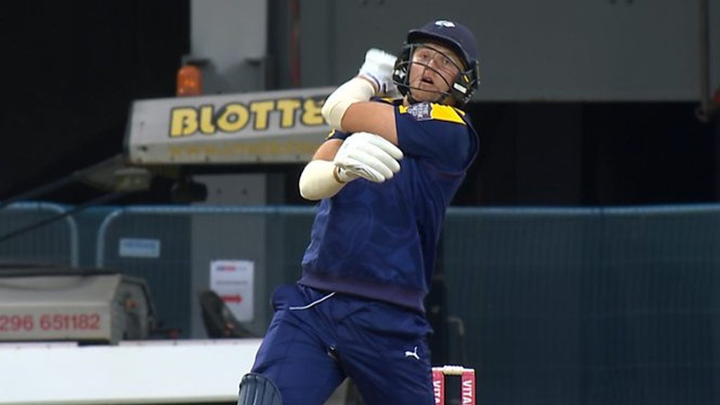 T20 Blast: Yorkshire batsman David Willey loses his bat in the match against Notts