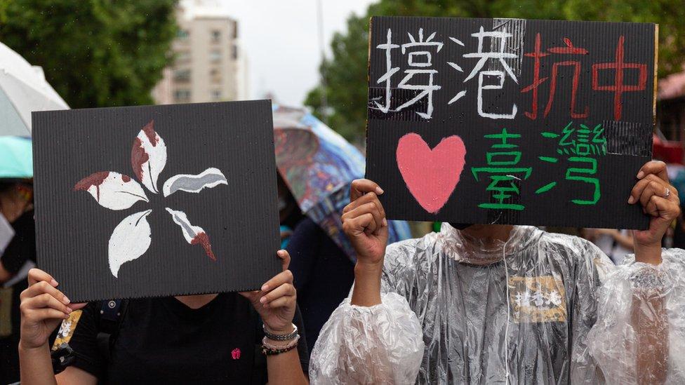 參與聲援香港「反送中」抗議的台灣群眾(29/9/2018)
