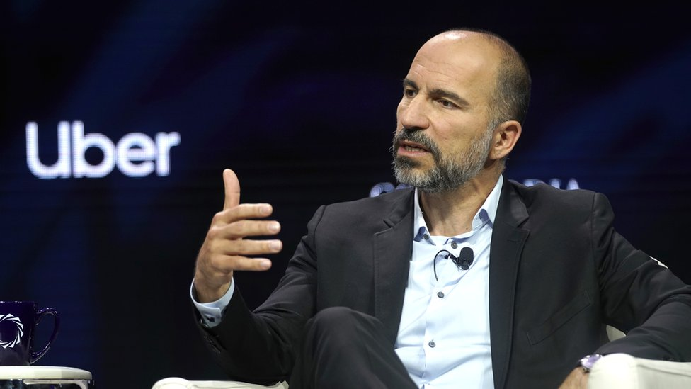 Uber CEO Dara Khosrowshahi is speaks onstage at a summit