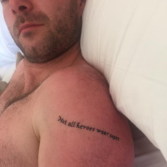 Michael's friend Anthony and his new tattoo