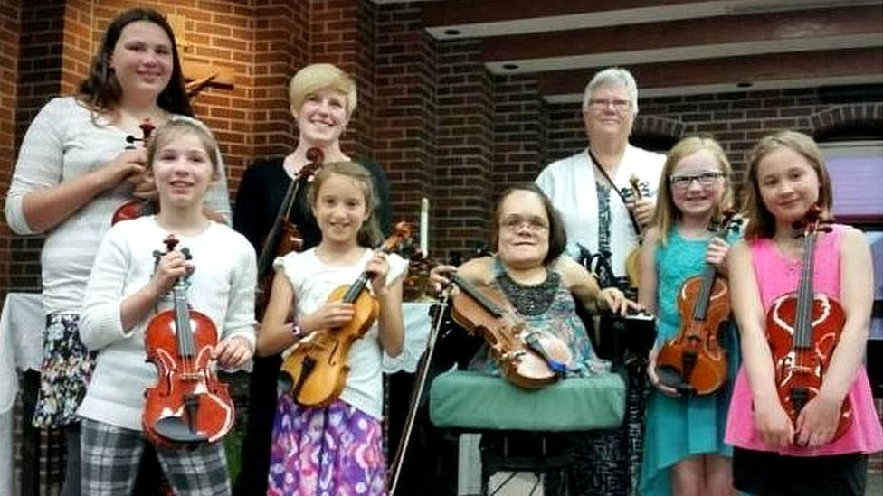 Some of Gaelynn's violin students
