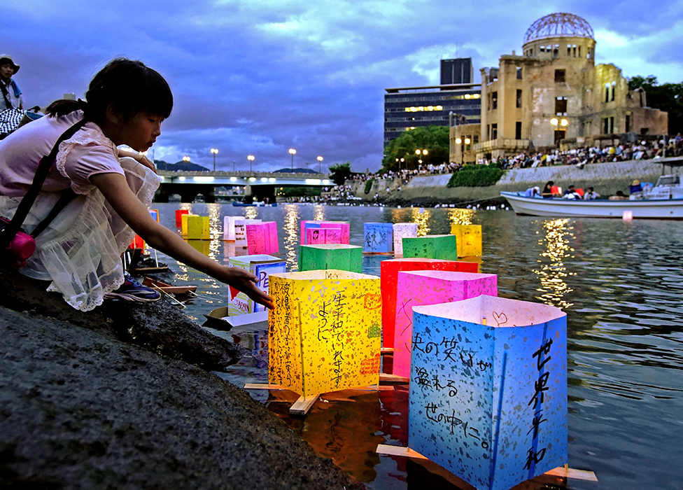 Lanterns float on a river in Hiroshima