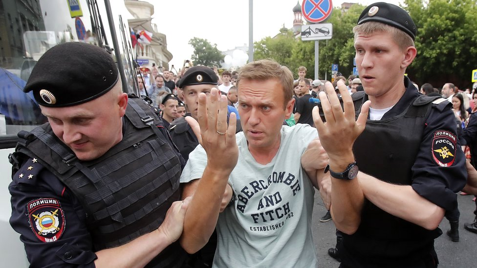 Russian opposition leader Alexei Navalny is arrested during a rally in support of investigative journalist Ivan Golunov in Moscow, Russia, 12 June 2019