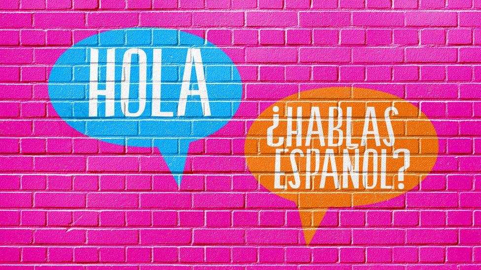 """Pared con los mensajes: """"Hola"""" y """"¿Hablas español?"""""""