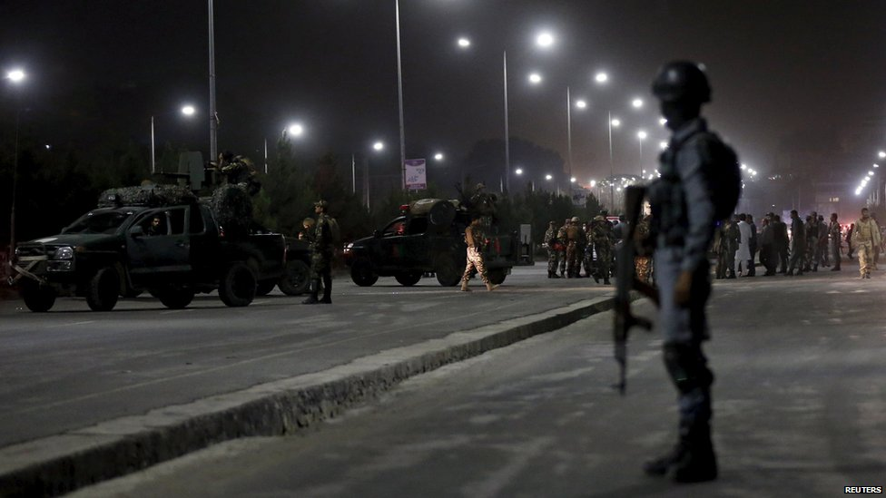 Scene of a suicide attack outside the police academy in Kabul on 7 August 2015