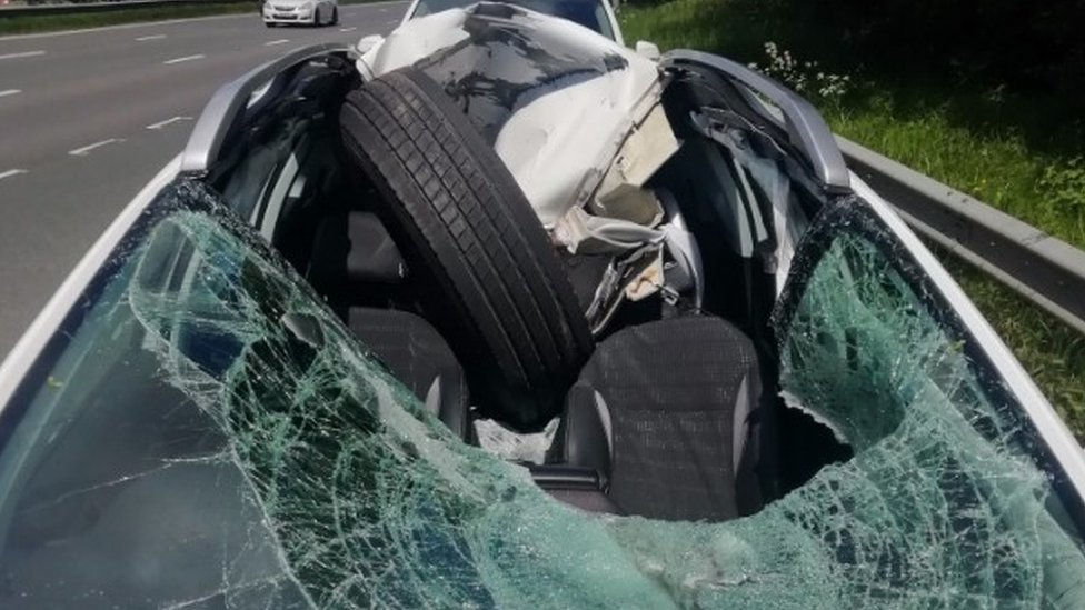 Loose lorry tyre smashes into car on M6 in Leyland