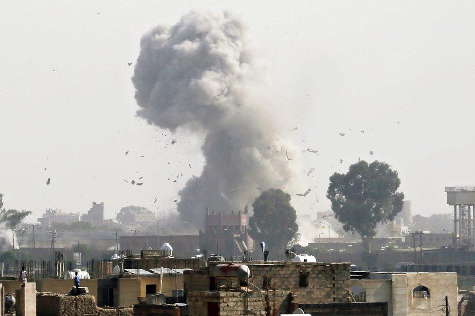 Smoke rises above Sanaa, Yemen following a Saudi-led coalition air strike targeting a Houthi rebel position (31 August 2016)