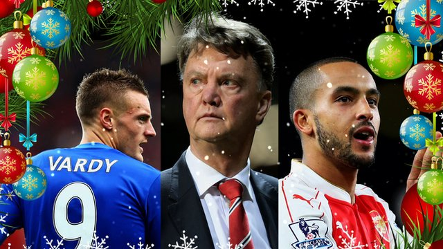Leicester City striker Jamie Vardy, Manchester United manager Louis Van Gaal and Arsenal forward Theo Walcott