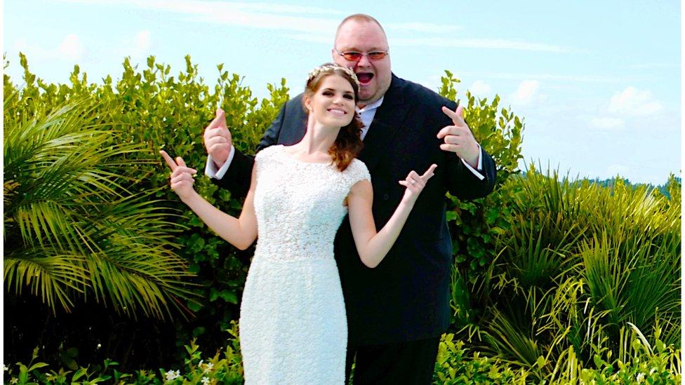Kim and Elizabeth Dotcom on their wedding day