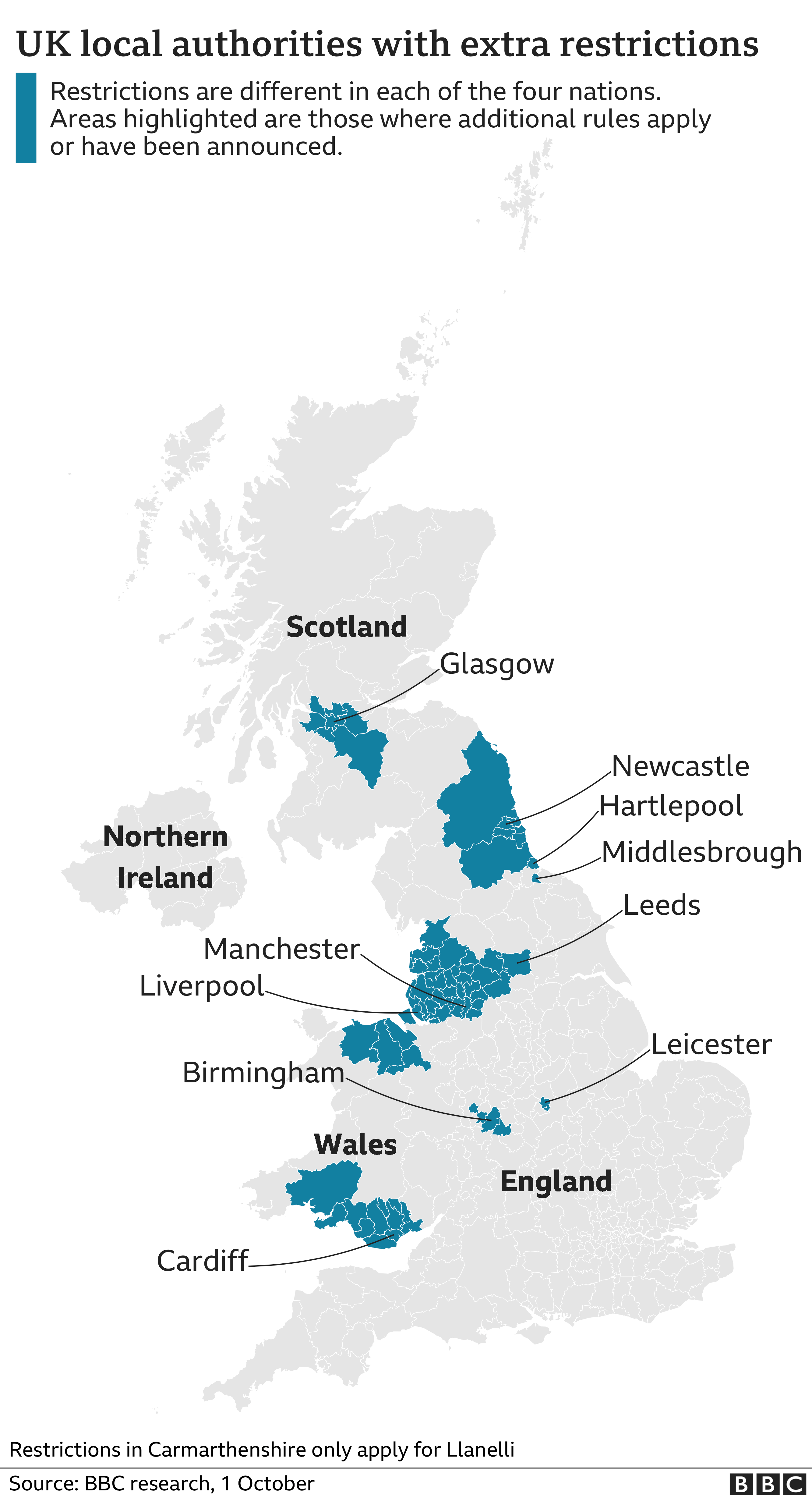 Map showing local authorities with extra restrictions