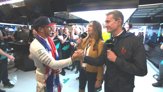 Lewis Hamilton, Suzi Perry and David Coulthard (L-R)