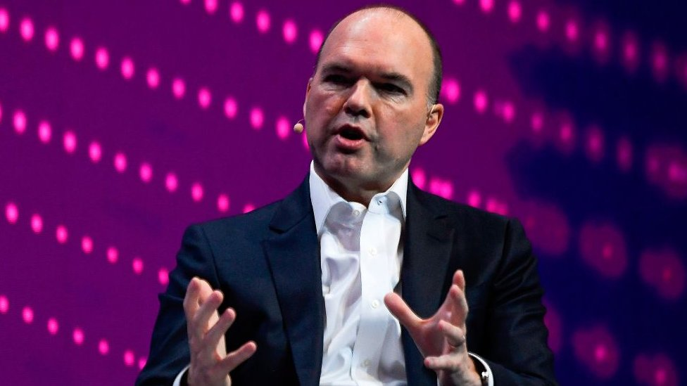 Vodafone chief executive officer Nick Read speaks at the Mobile World Congress (MWC) in Barcelona on February 25, 2019