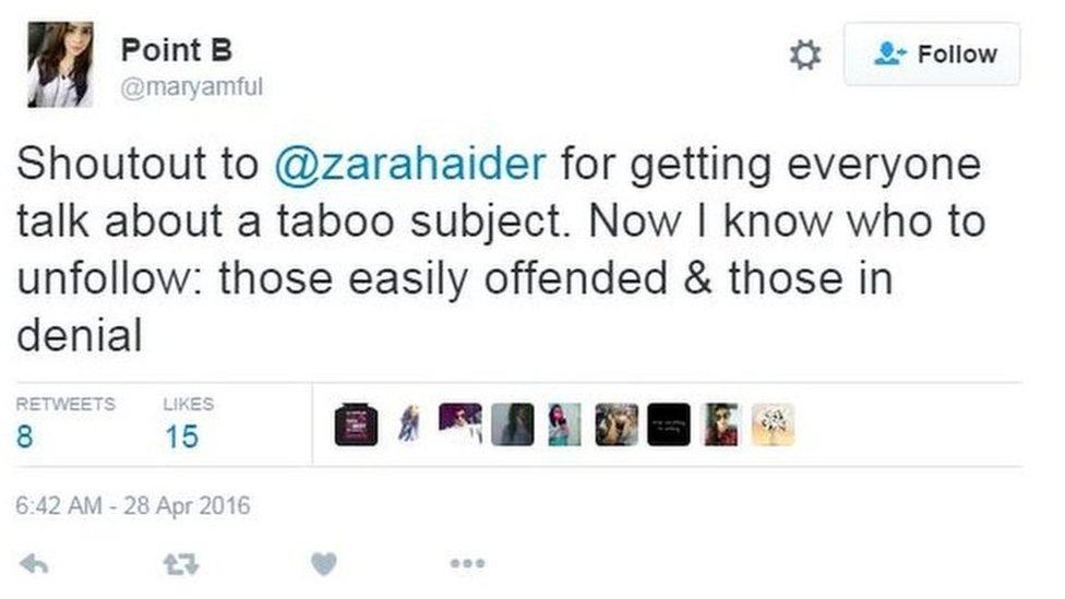 A tweet supporting Zahra Haider