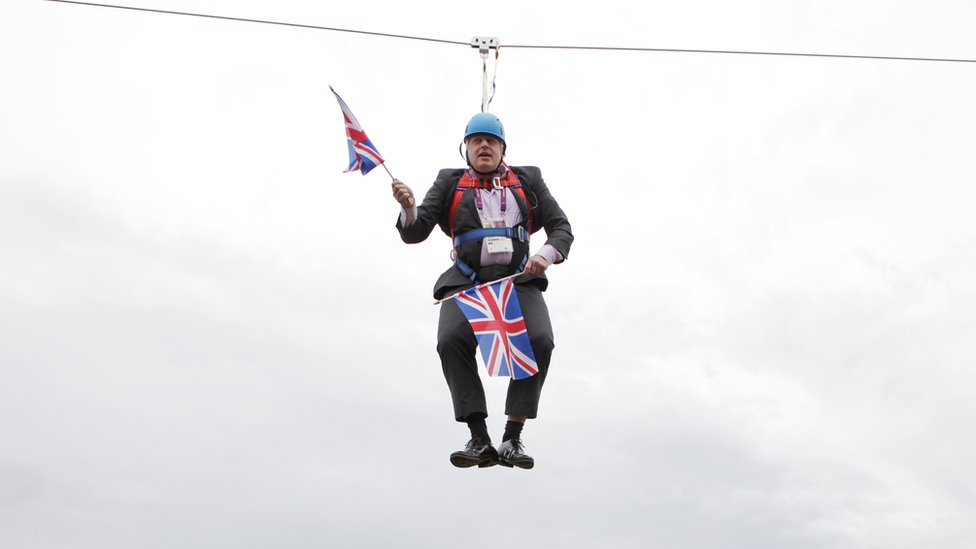 Boris Johnson got stuck on a zip-line on August 01, 2012