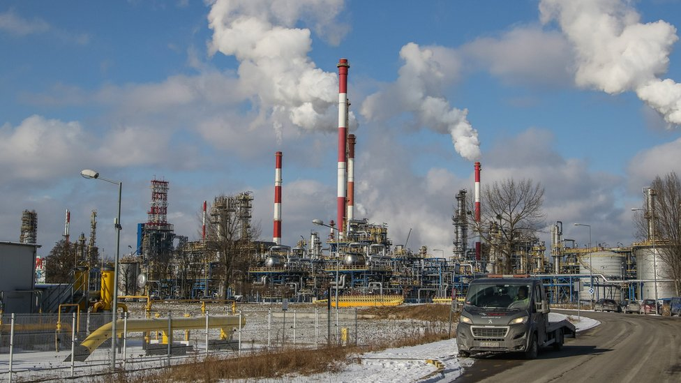 Smoking chimneys over the LOTOS refinery plant are seen in Gdansk, Poland on 1 March 2018