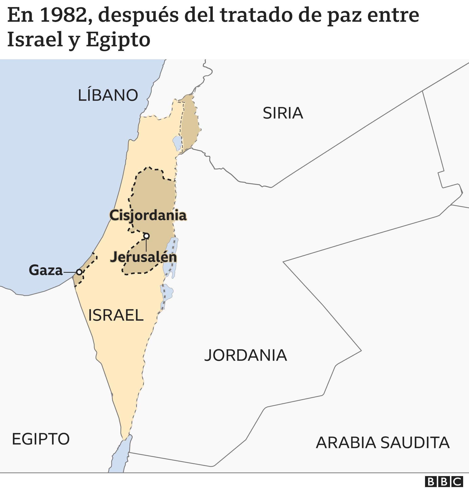 Mapa 5: en 1982, después del tratado de paz egipcio-israelí