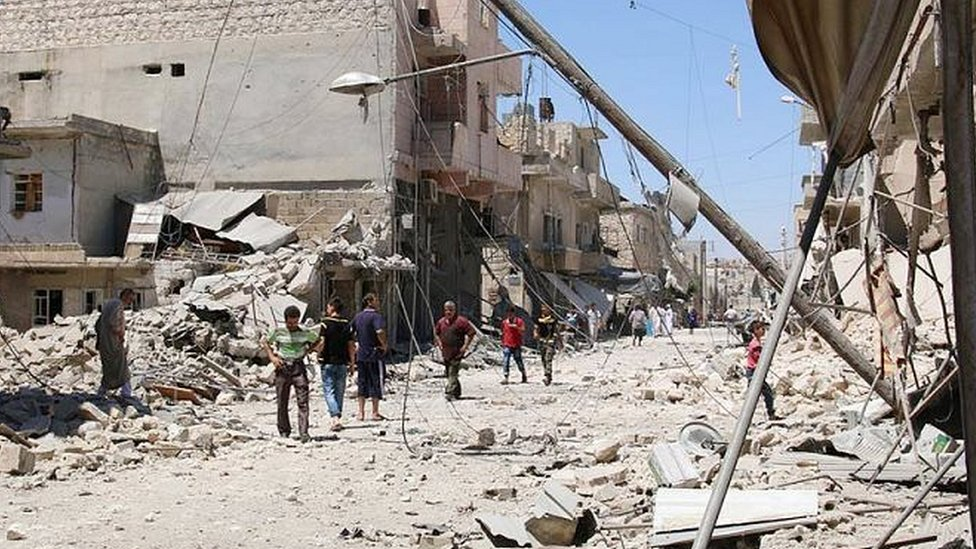 Aftermath of an air strike on Aleppo (July, 2016)