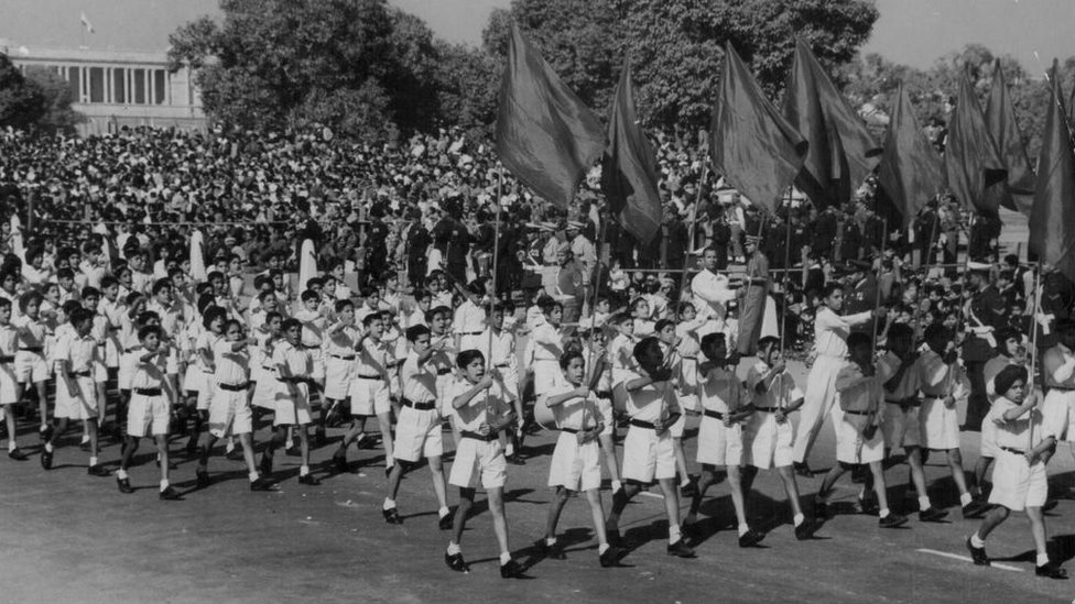 1960 में गणतंत्रता दिवस पर परेड का एक दृश्य