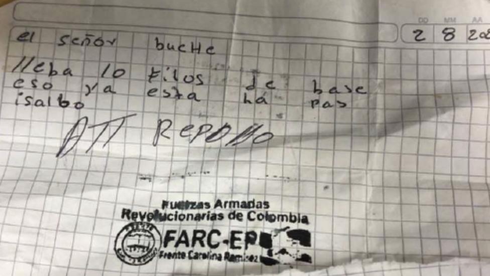 Carta com carimbo da Frente Carolina Ramirez, uma dissidência das Farc foi encontrada com casal preso pela PF. Policia suspeita que a dupla trabalhe para o grupo