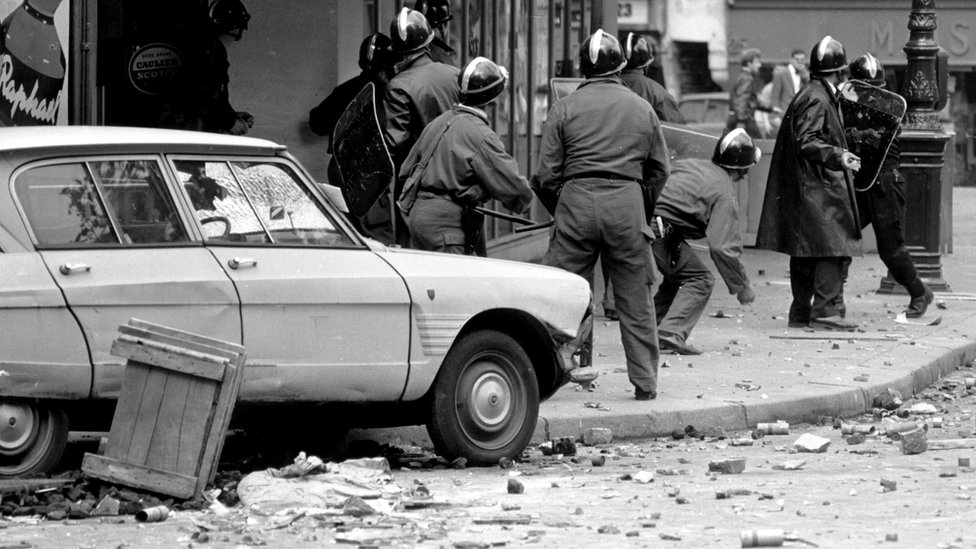 May 1968 police under hail of cobble stones in Paris