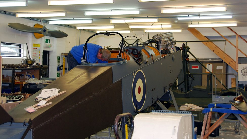 Working on a DH9 fuselage