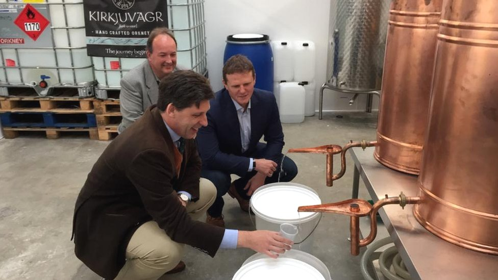 Lord Duncan (front), Jon Clipsham from Emec (back) and Stephen Kemp, from Orkney Distilling (right)