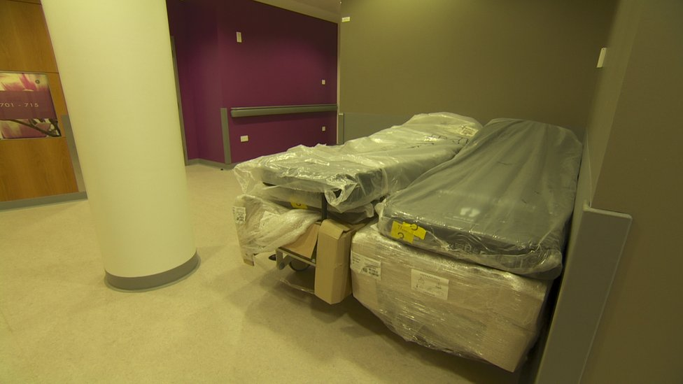 Unwrapped hospital beds